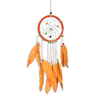 Traumfänger - Dreamcatcher -  Orange Weiße Perlen  ca. 30cm x 9cm Kinder Auto